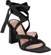 Gianvito Rossi Chunky Suede Ankle-Tie Sandals