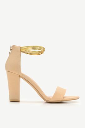 Ardene Snakeskin Block Heel Sandals