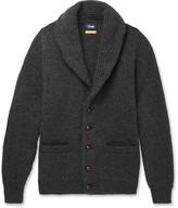 Drakes Drake's - Easyday Shawl-Collar Ribbed-Knit Wool Cardigan