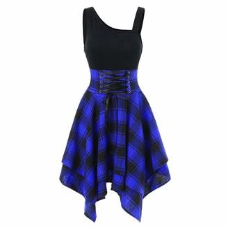 7Lucky Women Plaid Dress Sleeveless Off Shoulder Cross Lace Up Plaid Print Skirt Beach Party Asymmetric Hem Sundress Ladies Holiday Beachwear Blue