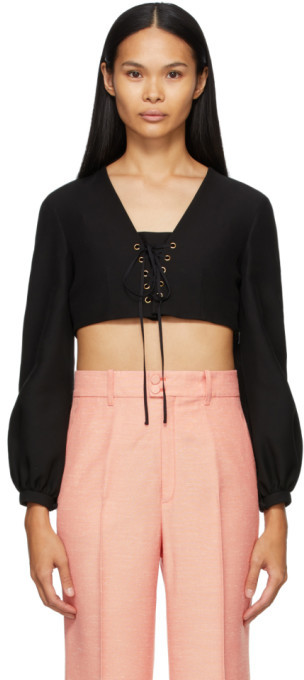 Gucci Black Crepe Cropped V-Neck Blouse