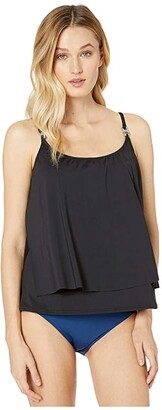 MICHAEL Michael Kors Iconic Solids Double Layer Tankini Top (Black) Women's Swimwear