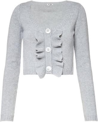 Miu Miu Cropped Ruffle Knitted Cardigan