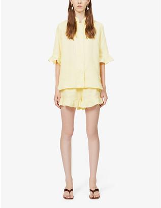 Sleeper Ruffle-trim linen pyjama set