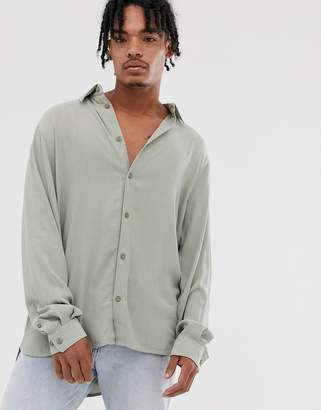 Weekday ribbed shirt in light green