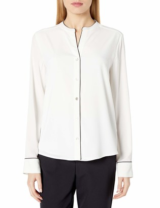 Tommy Hilfiger Women's Piped Button Down Longsleeve Woven Top