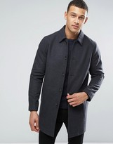 Asos Wool Mix Trench Coat In Charcoal