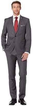 Nick Graham Pinstripe Suit (Grey Stripe) Men's Suits Sets