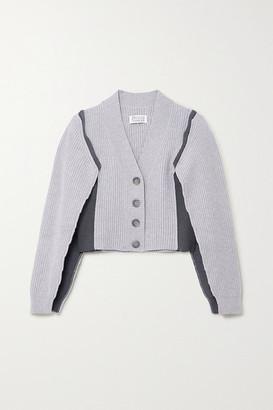 Maison Margiela Ombra Paneled Ribbed-knit Cardigan - Gray
