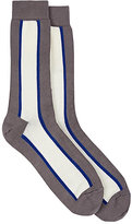 Paul Smith Men's Colorblocked Cotton-Blend Mid-Calf Socks-GREY