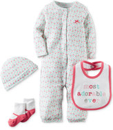 Carter's Baby Girls' Hello Cutie 4-Pc. Hat, Bib, Socks & Coverter Gown Set