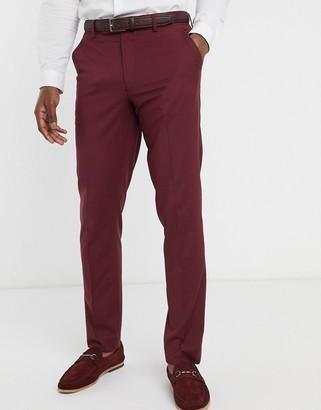 Asos DESIGN wedding slim suit pants in burgundy