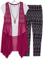 Knitworks Knit Works SS Crochet Vest Legging Set With Necklace - Girls' 7-16
