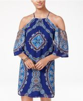 City Studios Juniors' Printed Cold-Shoulder Halter Dress