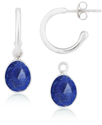 Auree Jewellery Manhattan Lapis Lazuli & Silver Interchangeable Gemstone Hoop Earrings