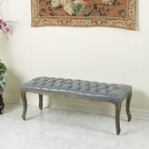 Christopher Knight Home Tufted Grey Bonded Leather Bench