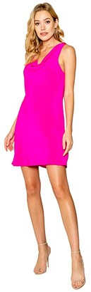 Lavender Brown Cowl Neck Bias Mini Dress (New Hot Pink) Women's Clothing