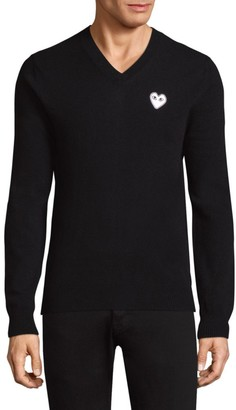 Comme des Garcons Heart Wool V-Neck Sweater