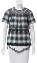 No.21 No. 21 Guipure Lace-Accented Plaid Top