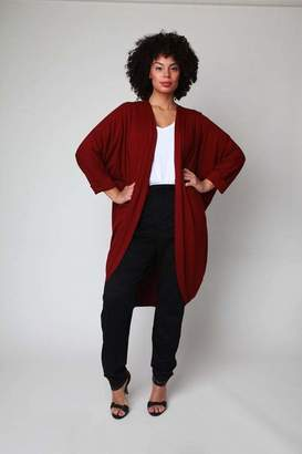 Shegul Mia Cocoon Jacket in Bordeaux Size 18-26 Rayon