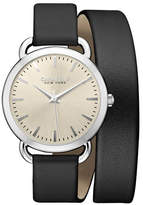 Caravelle New York The Dress Collection Three-Hand Sweep Analog Leather Wraparound Watch