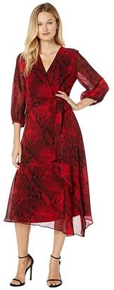 Calvin Klein V-Neck Wrap Dress with Belt (Rouge/Black) Women's Dress
