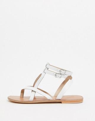 ASOS DESIGN Franca leather gladiator sandals in white