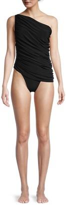 Norma Kamali Diana One-Shoulder Gathered One-Piece Swimsuit