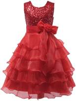 Shiny Toddler Little Girls Sequins Ruffled Flower Girl Birthday Pageant Dress 6-7T