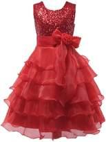 Shiny Toddler Little Girls Sequins Ruffled Flower Girl Birthday Pageant Dress 7-8T