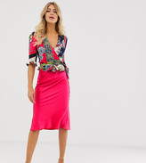 Outrageous Fortune wrap front frilly tie crop top in red scarf print