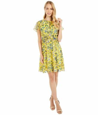 Sam Edelman Women's Short Sleeved Retro Floral Aline Dress