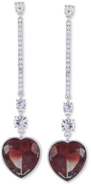 GUESS Crystal & Stone Heart Linear Drop Earrings
