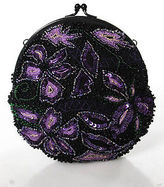 BCBGMAXAZRIA Black Purple Green Beaded Sequined Floral Kiss Lock Cutch Handbag