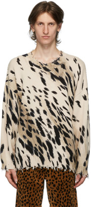 R 13 Beige Cheetah Oversized Crewneck Sweater