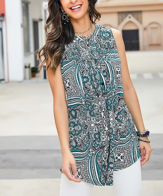 Reborn Collection Women's Tunics Aqua - Aqua Arabesque Sleeveless Notch Neck Pin-Tuck Tunic - Women & Plus