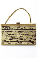 Nicole Miller Collection Gold Satin All Over Sequin Detail Evening Handbag