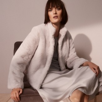 The White Company Short-Faux Fur Coat, Pale Grey, Extra Small