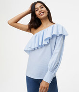 LOFT Striped Ruffle One Shoulder Shirt