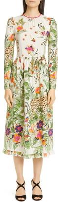 RED Valentino Jungle Print Long Sleeve Silk Midi Dress