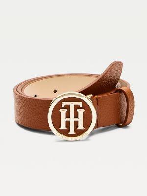 Tommy Hilfiger Statement Round Buckle Leather Belt