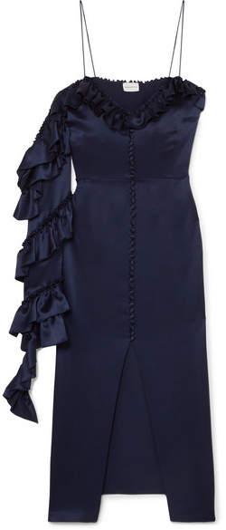 Magda Butrym Pozallo Ruffled Silk Midi Dress - Navy