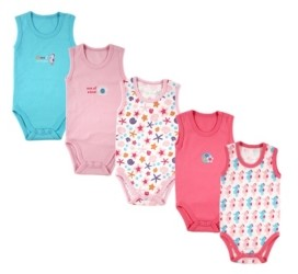 Luvable Friends Baby Girl and Boy Crab Sleeveless Bodysuits, Pack of 5