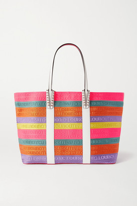 Christian Louboutin Cabata Large Studded Leather-trimmed Striped Canvas Tote - Pink
