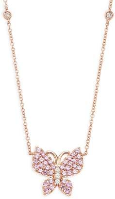Effy 14K Rose Gold, Diamond & Pink Sapphire Pendant Necklace