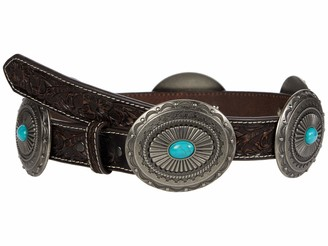"Ariat 1 1/4"" Pierced Inlay Concho Belt Tan/Turquoise LG (38"" Waist)"