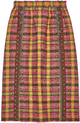 Gucci Check Print Tweed Skirt