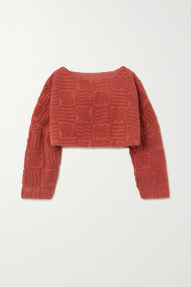 LUCY FOLK Spritz Cropped Cotton-terry Sweater - Red