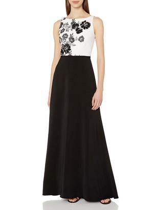 Carmen Marc Valvo Women's Floral Bodice Gown White/Black 14