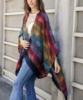 Leto Collection Women's Kimono Cardigans MULTI - Red & Mustard Palm Dot Fringe-Trim Kimono - Women